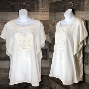 Meadow Rue Cream Ivory Off White Boho Blouse